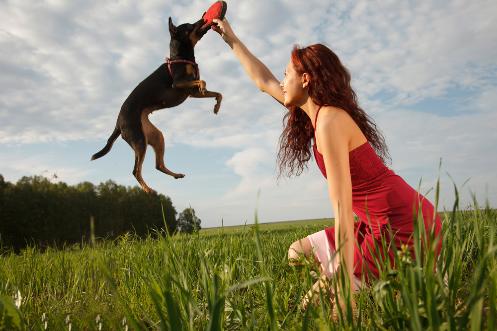 Woman playing with her dog outside.